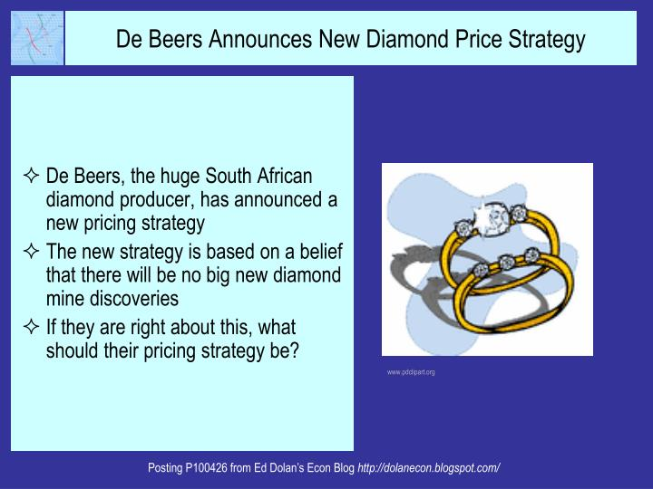 De Beers, the huge South African diamond producer, has announced a new pricing strategy