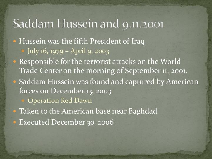 Saddam hussein and 9 11 2001