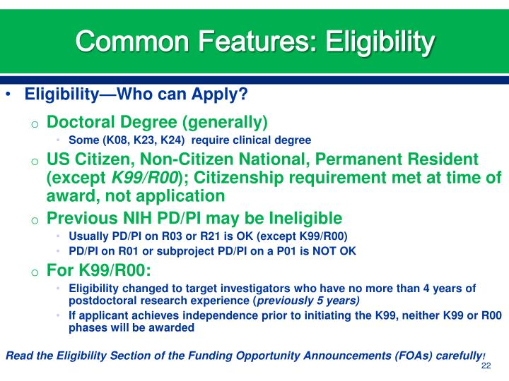 Common Features: Eligibility
