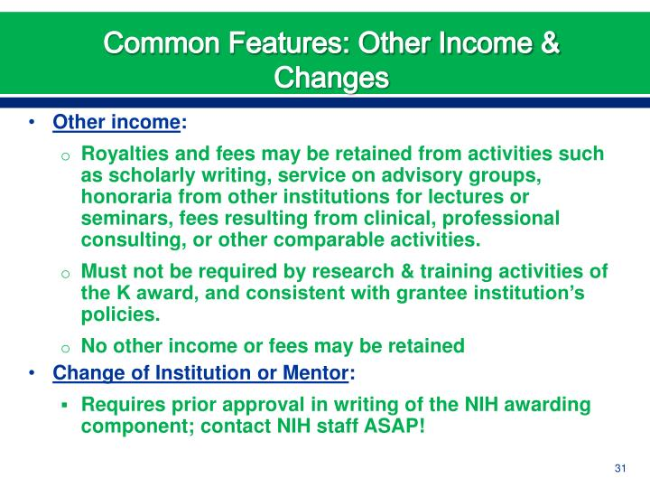 Common Features: Other Income & Changes