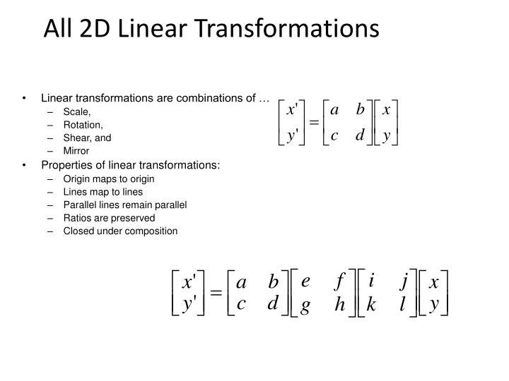 All 2d linear transformations