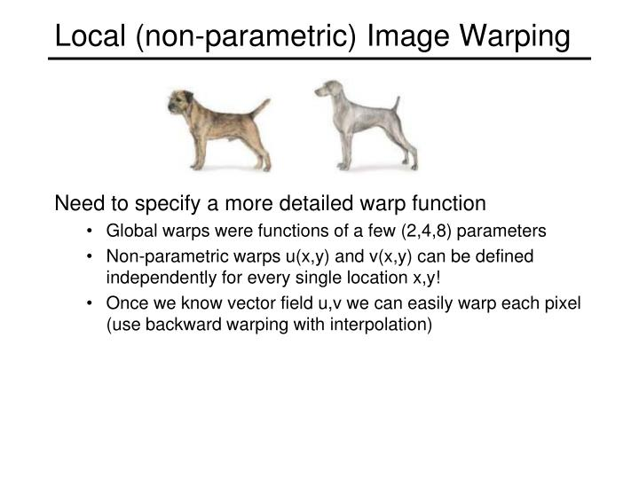 Local (non-parametric) Image Warping