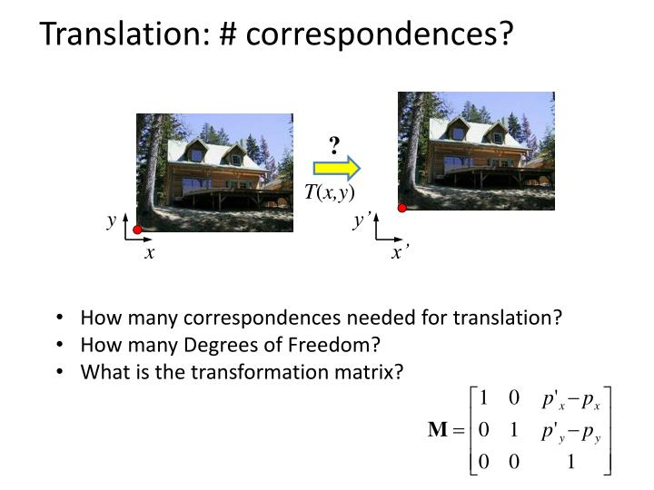 Translation: # correspondences?