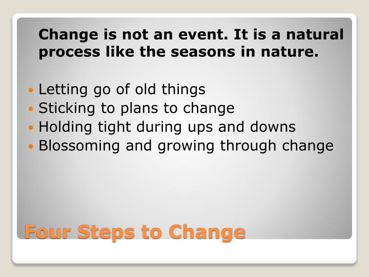 Change is not an event. It is a natural process like the seasons in nature.