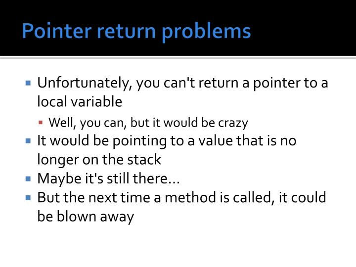 Pointer return problems
