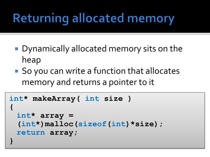 Returning allocated memory