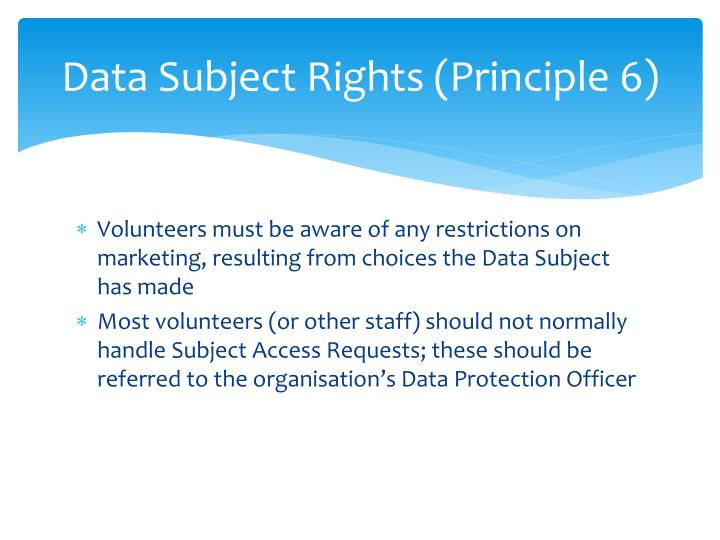 Data Subject Rights (Principle 6)