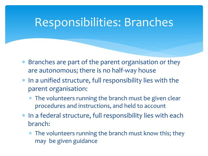 Responsibilities: Branches