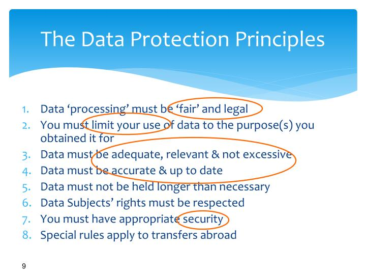 The Data Protection Principles