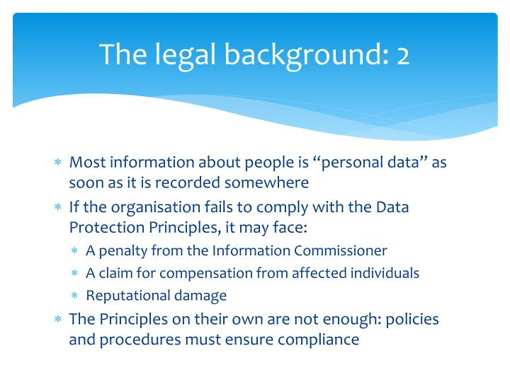 The legal background: 2