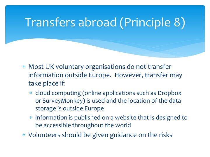 Transfers abroad (Principle 8)
