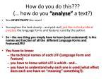 how do you do this how do you analyse a text