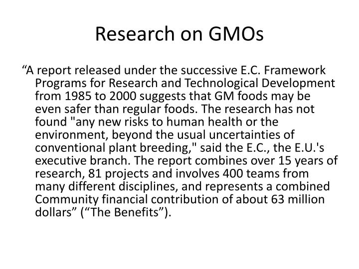Research on GMOs