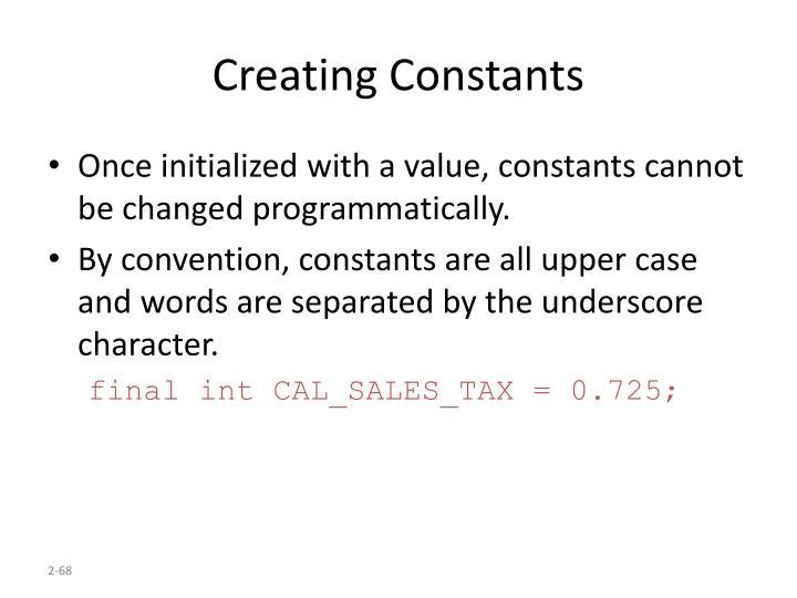 Creating Constants