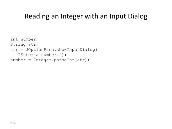 Reading an Integer with an Input Dialog