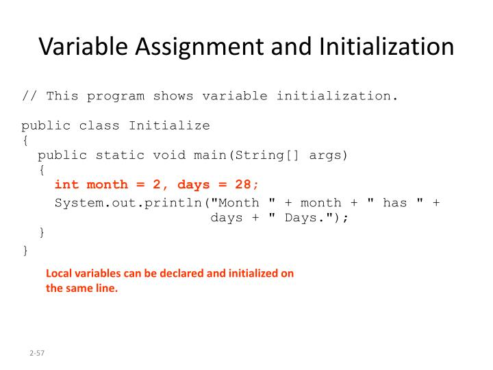 Variable Assignment and Initialization