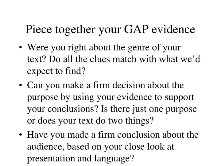 Piece together your GAP evidence