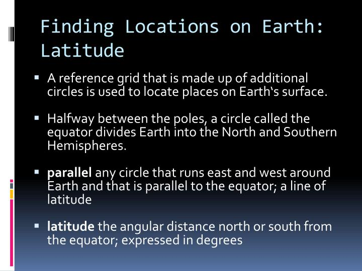 Finding locations on earth latitude