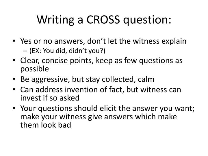 Writing a cross question