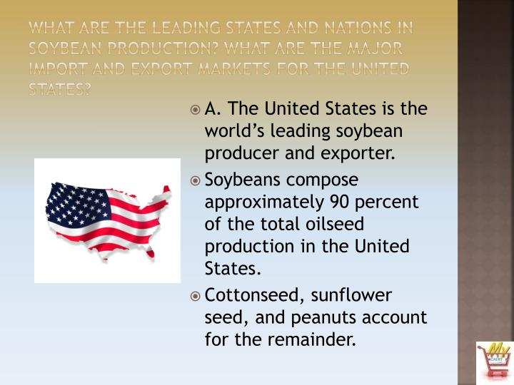 What are the leading states and nations in soybean production? What are the major import and export markets for the United States?