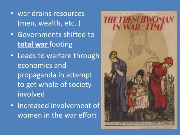 War drains resources (men, wealth, etc. )