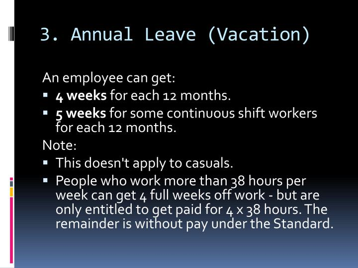 3. Annual Leave (Vacation)