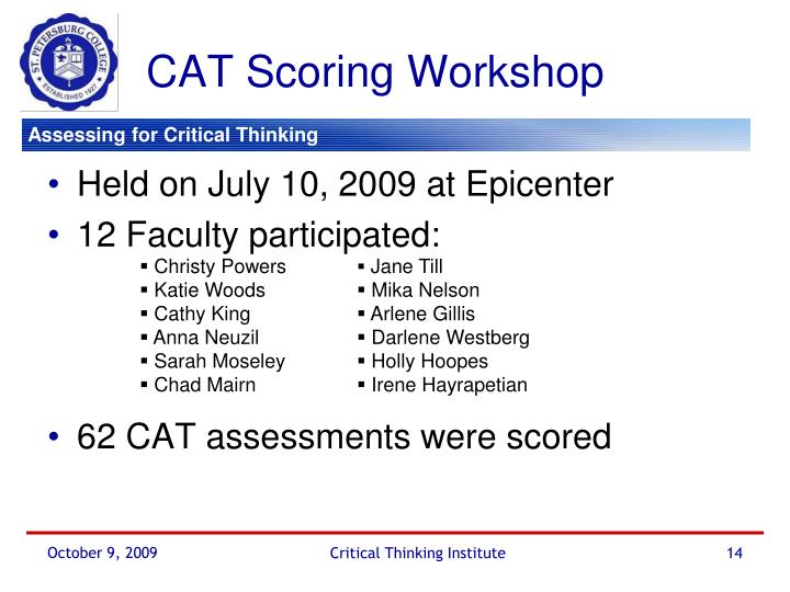 CAT Scoring Workshop