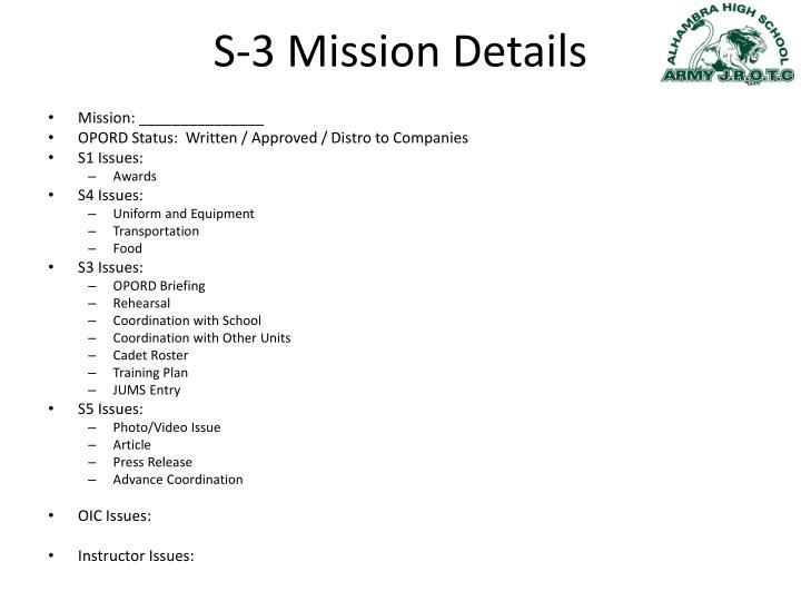 S-3 Mission Details