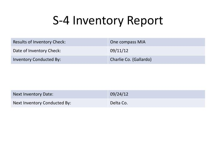 S-4 Inventory Report