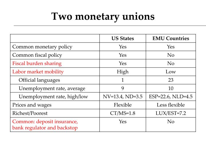 Two monetary unions