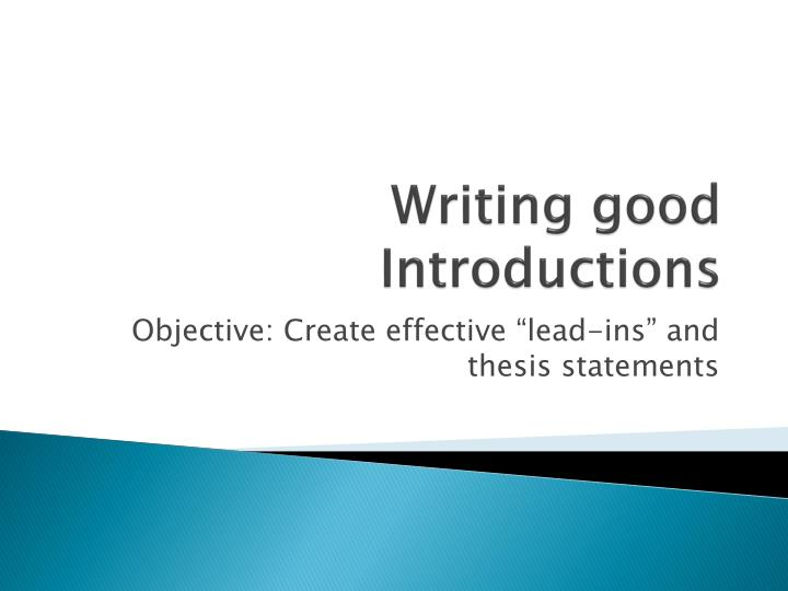 writing an effective thesis introduction