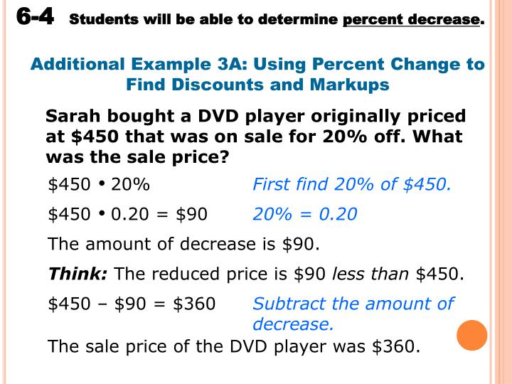 Additional Example 3A: Using Percent Change to Find Discounts and Markups