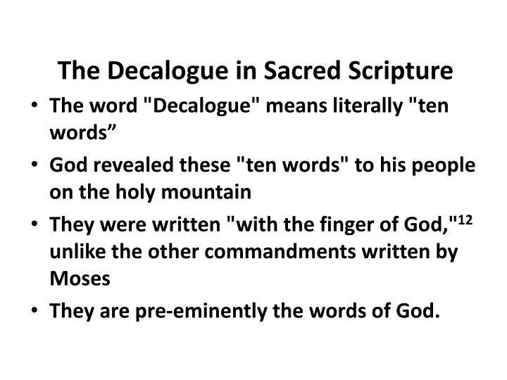 The Decalogue in Sacred Scripture