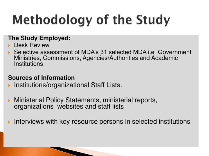 Methodology of the Study