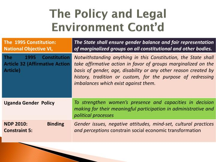 The Policy and Legal Environment Cont'd