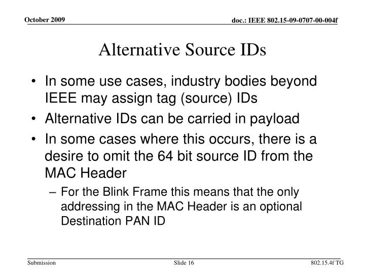 Alternative Source IDs