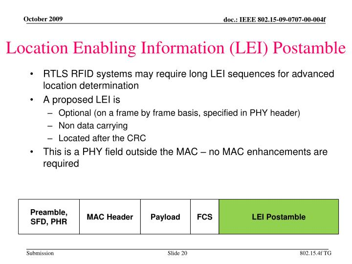 Location Enabling Information (LEI) Postamble