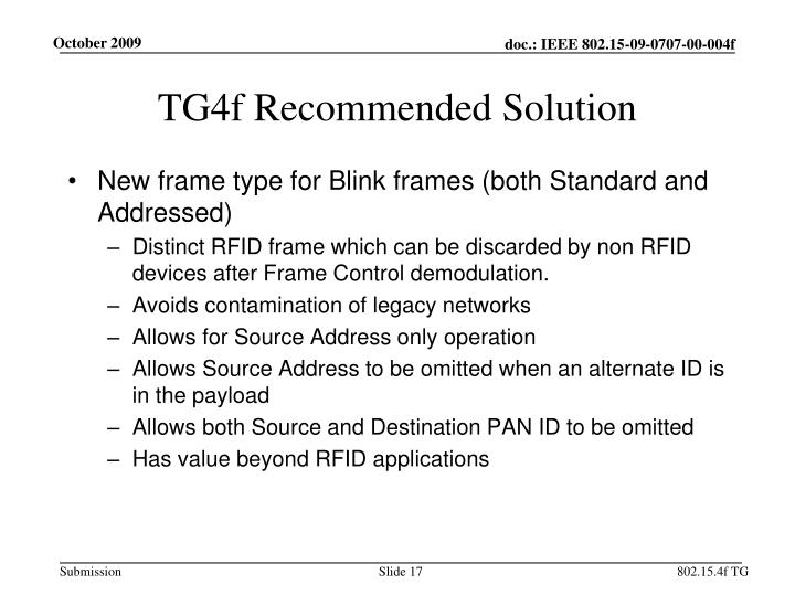 TG4f Recommended Solution