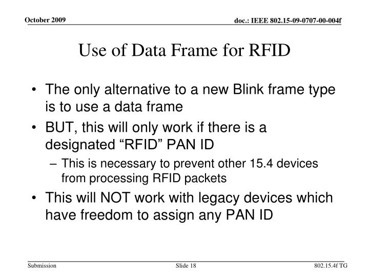 Use of Data Frame for RFID