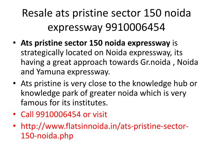 Resale ats pristine sector 150 noida expressway 99100064541