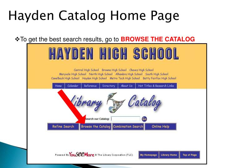 Hayden Catalog Home Page