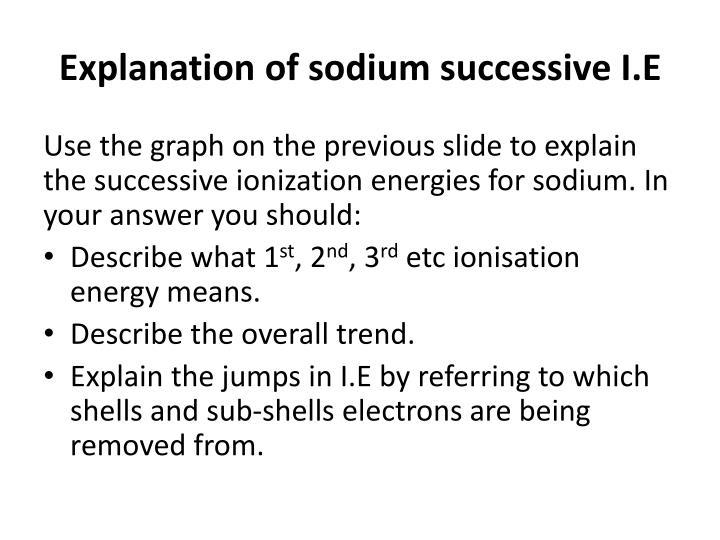 Explanation of sodium successive I.E