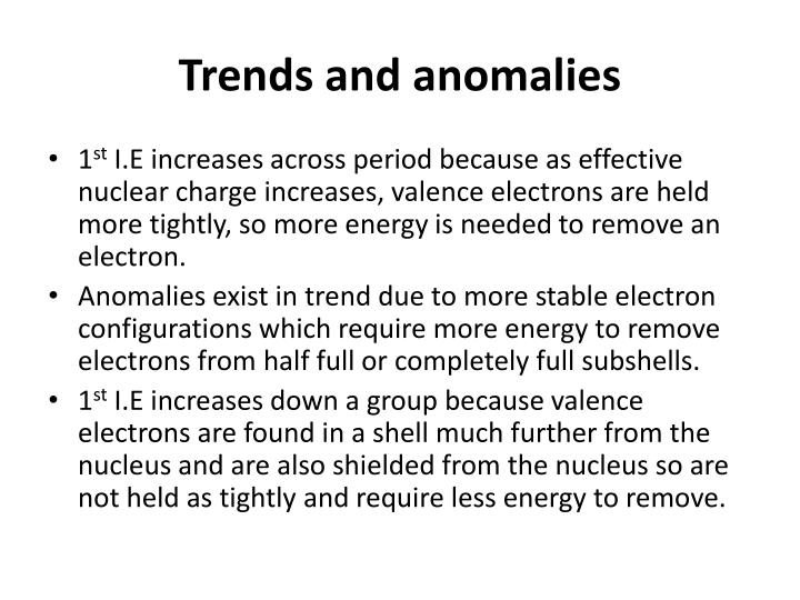 Trends and anomalies