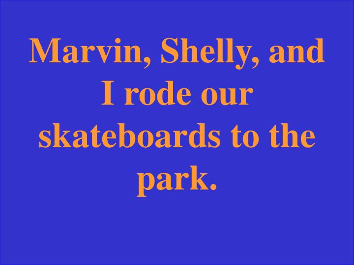 Marvin, Shelly, and I rode our skateboards to the park.