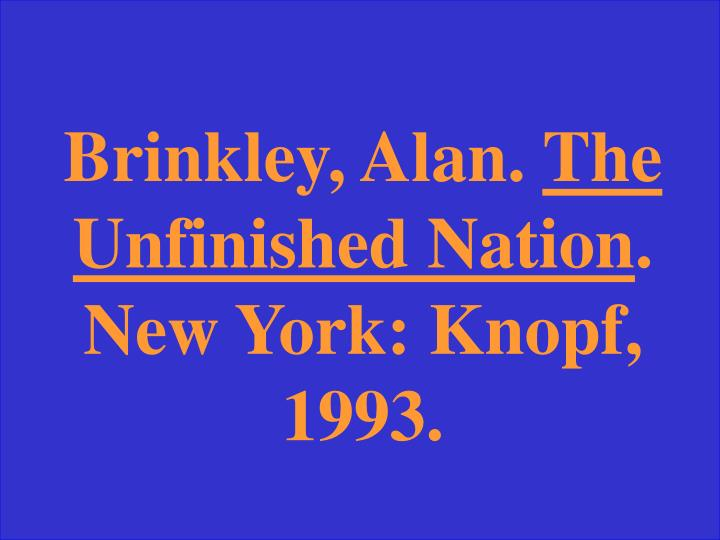Brinkley, Alan.