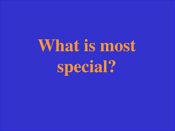 What is most special?