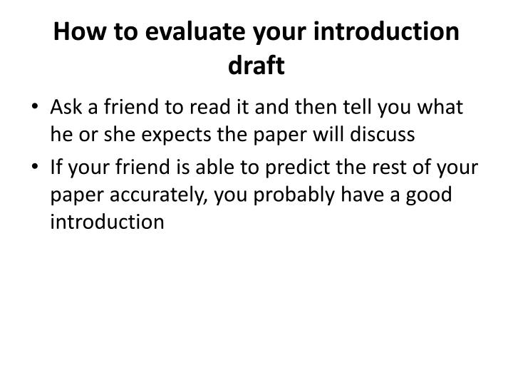 How to evaluate your introduction draft