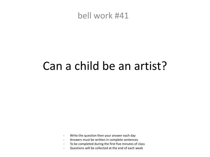 Can a child be an artist?