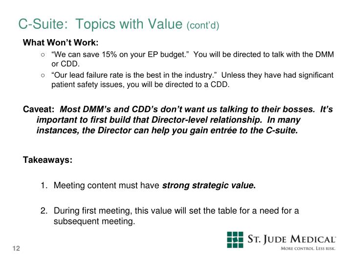 C-Suite:  Topics with Value