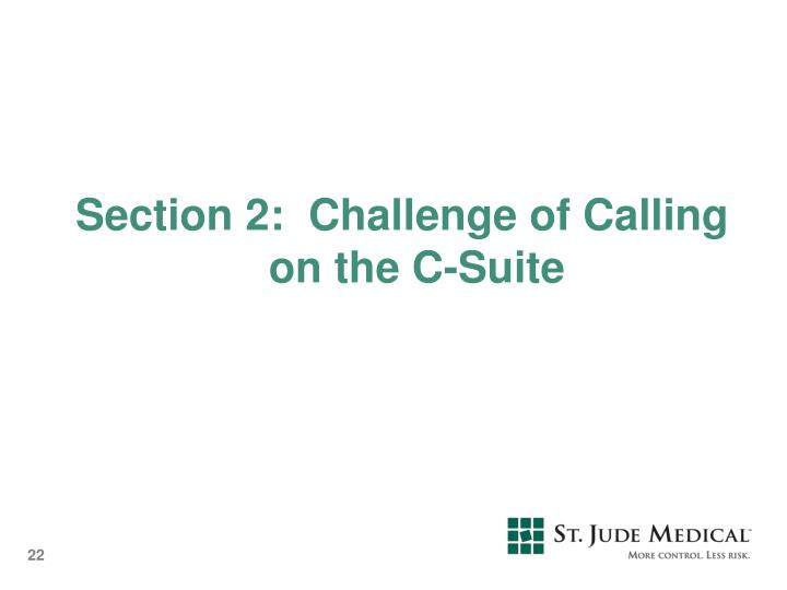 Section 2:  Challenge of Calling on the C-Suite